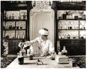 A man distilling essential oils to use in perfume