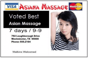 A very bad example of massage advertising, an attractive woman in a provocative pose