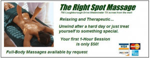 """A bad example of massage advertising using the inappropriate words """"The right spot"""" next to a very exposed female client"""