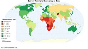 A global map showing the current life expectancy at Birth