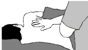 an illustration of hand over hand strokes used in side lying massage