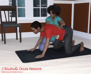 A pregnant woman doing the back stretch while her massage therapist encourages her