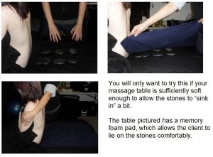 A photo showing a client laying on top of the hot stones.